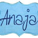 Embroidered Personalised name patch - Scrapbook Tag - Blue