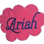 Embroidered Personalised name patch - Cloud - Pink