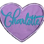 Embroidered Personalised name patch - Heart - Purple