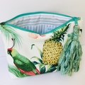 Tommy Bahama tropical clutch with sari silk and sea shell tassel.