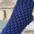 Stunning navy blue fingerless gloves handwarmers mens or ladies texting mittens