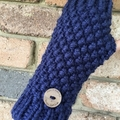 Stunning navy blue fingerless gloves handwarmers mens or ladies texting mittens