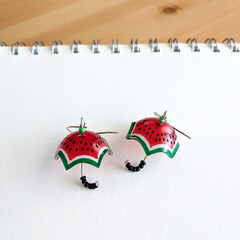 Watermelon Umbrella Drop Earrings (Red) - Handmade Kawaii Brollies