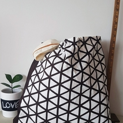 Brown and white triangle pattern tote/shopping bag Medium