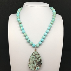Blue Agate Necklace Hand  Knotted