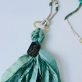Long boho sari silk necklace with LOVE bronzed pewter dogtag.