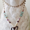 Long boho semi precious necklace with hand forged bronzed pewter heart
