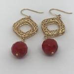 Red Coral Gold Filled Earrings