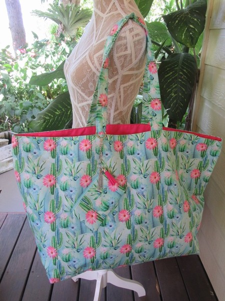 Beach Bag, Shopping Tote with detachable Coin Purse