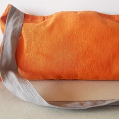 Orange tote bag with grey fabric strap