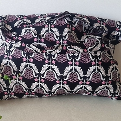 Cotton hand/tote bag Black with pink & white design