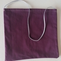 Maroon and silver tote/handbag with plaited silver strap