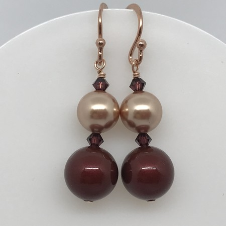 Bordeaux Pearl And Rose Gold Earrings
