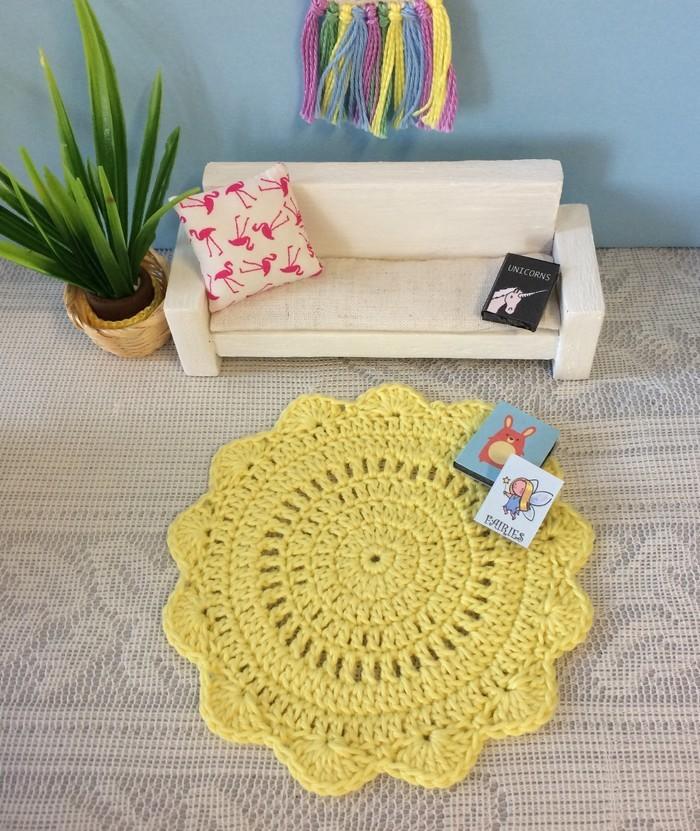 Miniature Crocheted Doily Rug Handmade Dollhouse Floor Rug