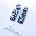 Abstract black white drop polymer clay earrings by Sasha + Max