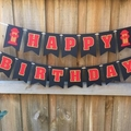 Fire Truck Happy Birthday Party Banner. First Birthday. Cake smash photo prop.