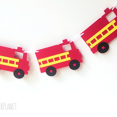 Fire Truck Garland. Birthday party Banner. First Birthday. Cake smash photo prop