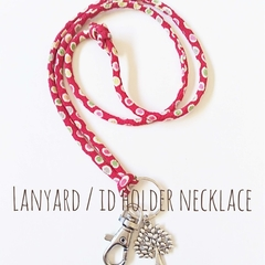 Lanyard / ID Holder Necklace / RED - POLKA DOT / Kimono cord