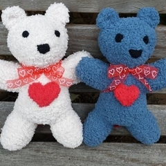 Teddy Bear with heart. Small,  soft & snuggly, hand knitted softie.