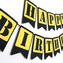 Happy Birthday. Construction Party Banner. Black Yellow. First Birthday.