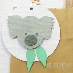 Koala gift tags. Koala and gum leaf. Birthday party, baby shower, gifts.