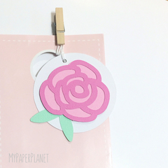 Floral gift tags. Pink roses. Birthday party, baby shower gift, favour tags.