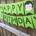 Happy Birthday. Jungle Monkey Party Banner. Little Monkey, First Birthday Party.