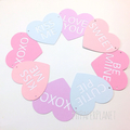 Valentines day banner. Candy hearts, pastel heart garland. Love you.