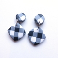 Gingham black white drop polymer clay earrings by Sasha + Max