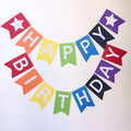 Happy Birthday. Rainbow Party Banner. First Birthday Party. Rainbow and stars.