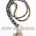 Lanyard / ID Holder Necklace / SAKURA - BLACK×WHITE / Kimono cord