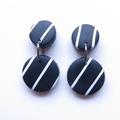 Super stripe black white drop polymer clay earrings by Sasha + Max