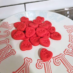 Monogrammed Love Heart Fondant Cupcake Cake Toppers