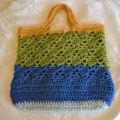 Crochet Handbag - Blue, Green & Mustard