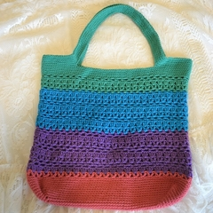 Rainbow Crochet Tote Bag - Pink, Purple, Blue & Green