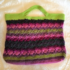Crochet Handbag - Greens, Pinks & Purples
