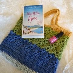 Crochet Handbag - Blue, Green & Mustard