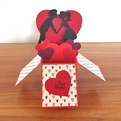 Handmade Valentines day card, heart love pop up card, FREE AUSTRALIAN POSTAGE
