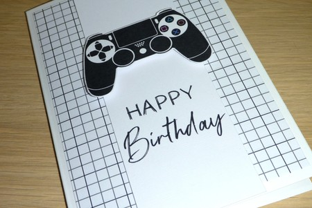Happy Birthday card - game controller - gamer - gaming console