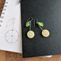 Lemon Slice Drop Earrings (Yellow) - Handmade Kawaii