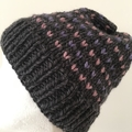 Knitted grey fair isle beanie, grey hat, pink beanie, purple beanie, slouchy hat