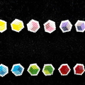 Hexagon Shaped Beaded Stud Earrings Yellow Blue Red Green Purple Pink