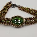 Green Swarovski Crystal  Beaded Bracelet Formal Trendy Boho