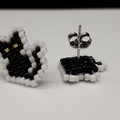 Black Cat Beaded Stud Earrings Halloween