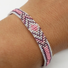 Pink Purple White and Silver Beaded Bracelet Pattern