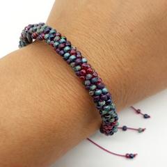 Kumihimo Bead  Bracelet Heart Button Pink Turquoise Purple