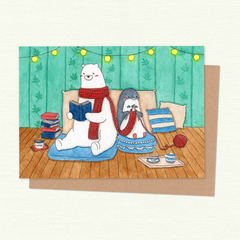 Polar Bear & Penguin in a room, Valentines Card, Love Card, Anniversary Card