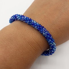 Blue Kumihimo Beaded Bracelet Boho