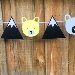 Mountains and Bears Party Banner. Woodland, Adventure, Wild One.