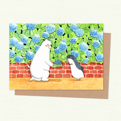 Polar Bear & Penguin with Hydrangea Valentines Card, Love Card, Anniversary Card